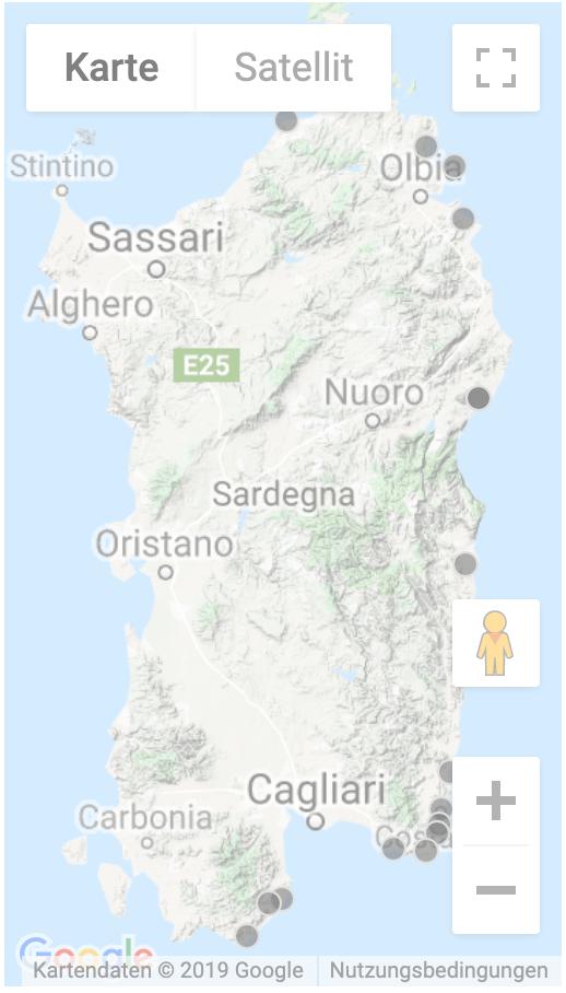 Karte Sardinien Süden.Ferienhäuser Direkt Am Strand Oder Mit Pool In Sardinien