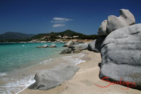 Beach Villasimius with rock formations