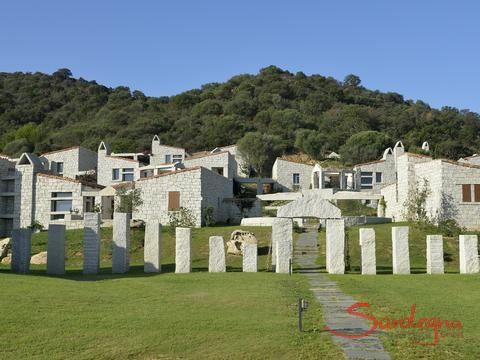 Complex of houses made out of grey granite roch