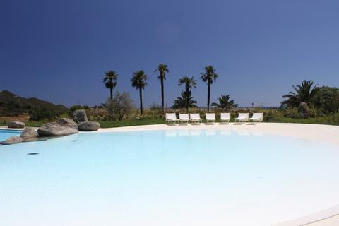 Pool for the guests of Li Conchi, lined with palm trees