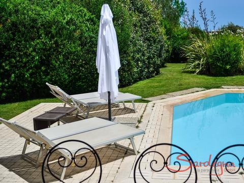 Pool and sunbeds in the beautiful garden