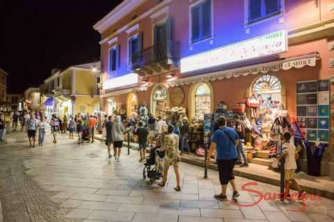 Shops are open at night during the sommer months in Santa Teresa di Gallura, about 16 miles away