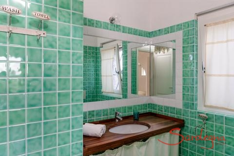 Bath 1, private bath of bedroom 1 with washbasin and shower and light green tiles